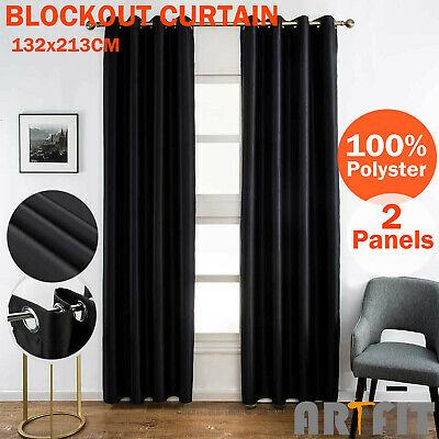 2X Blockout Curtains Thermal Blackout Curtains Eyelet Black Pure Fabric Pair
