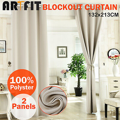 2X Blockout Curtains Thermal Blackout Curtains Eyelet Beige Pure Fabric Pair