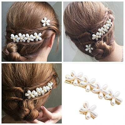 2Pcs/set Pearl Flower Hair Clips Hairpin Lovely Headwear for Women Hair Barrette