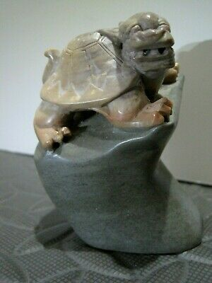"""Very Nice Vintage / Antique Chinese Carved Stone Dragon turtle seal ? 3 3/8"""" !"""