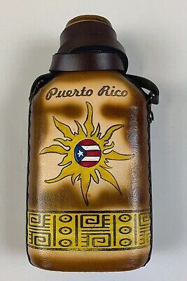 Glass Bottle (Caneka) Wrapped In Leather with Puerto Rico design Sol Amarillo