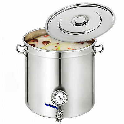 Commercial Stainless Steel Stock Pot Cater Stew Soup Boiling Pan W/Thermometer