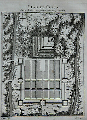 Bellin Original 1757 French plan of Cuzco (Peru)