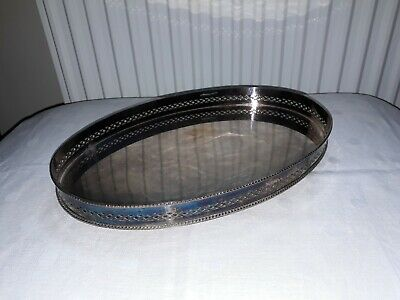Vintage Silver Plated Oval Gallery Tray - galleried and footed