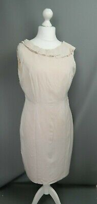 Marks & Spencer Size 14 Pale Pink Pencil Dress Wool Mix Ruffle Detail Occasion