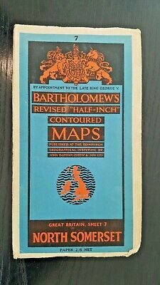 "Bartholomew's ""Half-Inch"" Contoured Map. Sheet Number 7 NORTH SOMERSET"