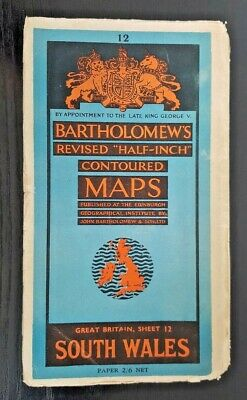 "Bartholomew's Cloth ""Half-Inch"" Contoured Map. Sheet Number 12 SOUTH WALES"