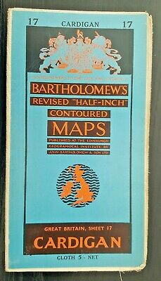 "Bartholomew's Cloth ""Half-Inch"" Contoured Map. Sheet Number 17 CARDIGANS"