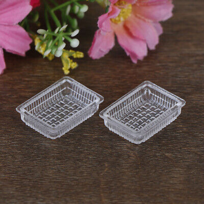 2Pcs1:12Dollhouse miniature accessories resin tray simulation food plate toys JH