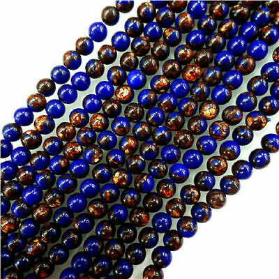 Wholesale 1strand Round Lapis Lazuli & Gold Copper Bornite stone Loose Bead 6mm