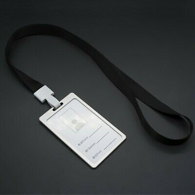 Metal ID Badge Card Holder Business Security Pass Tag Holder with Lanyard