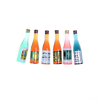 6pcs/set Kitchen Drink Wine Juice Bottles 1:12 Dollhouse Miniature JH