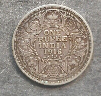 India  1916 George V  One Rupee  Silver Coin
