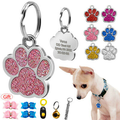 Glitter Personalised Dog Tag Paw Print Pet Cat Puppy ID Engraved Collar Tag Gift