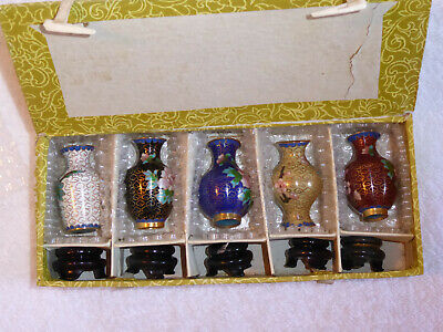 Vintage Oriental Cloisonne Enamel Vases boxed set Flower Decoration plus stands