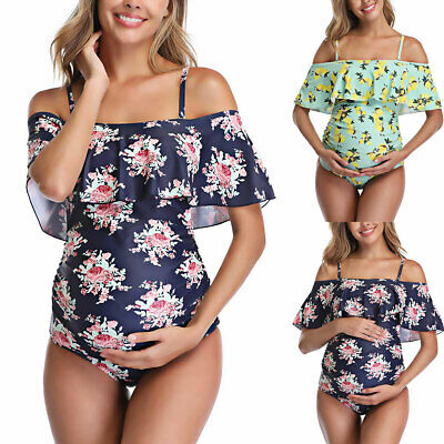 Womens Floral Print Ruffle One Piece Maternity Swimsuit Casual Swimming Costume