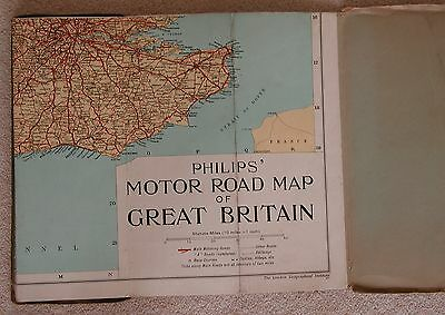 Vintage Cloth Map of England Philips Cloth Motor Road Map of Great Britian