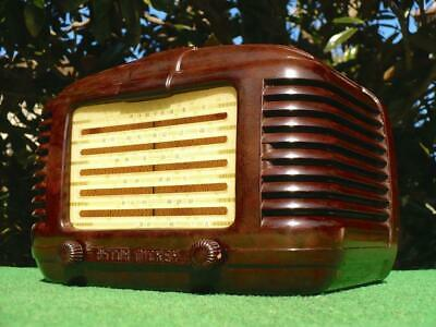 Amazing 1940's Vintage Art Deco ASTOR MICKEY Mottled Brown Bakelite Valve Radio