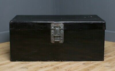 Attractive Large Antique Black Lacquered Oriental Pig Skin Chest Shipping Trunk