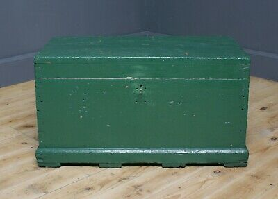 Attractive Small Antique Victorian Painted Pine Kist Chest Trunk Blanket Toy Box
