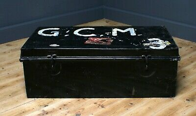 Attractive Antique Black Painted Metal Chest Storage Shipping Trunk Toy Box