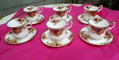 Set of 6 X Royal Albert Old Country Roses China Small Coffee Tea Cups & Saucers