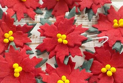 """100! Mulberry Paper Poinsettia Flowers - Christmas Red Poinsettias - 25mm/1"""""""