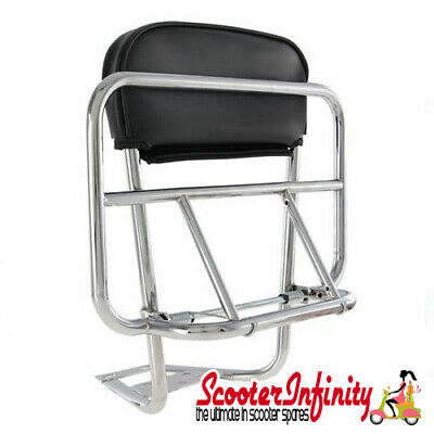 Carrier/Rack Rear Backrest/Folding (Chrome) (Vespa/Lambretta)