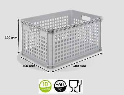 3 x 64 Ltr Heavy Duty Plastic Stacking Euro Storage Containers Boxes Basket GREY