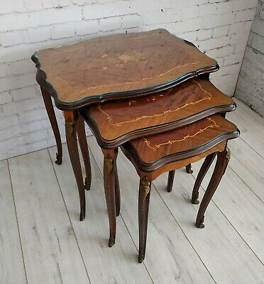 Vintage Italian Continental Style Marquetry Nest of Tables End Table 1960's