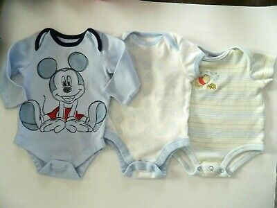 Lot of 3 baby boys ONE PIECE OUTFITS 1 Mickey Mouse 1 Pooh Bear & 1 Monkeys 3-6M