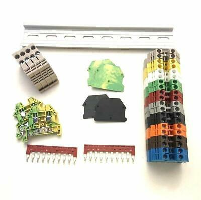 DIN Rail Terminal Block Kit Dinkle 20 DK2.5N 12 AWG Gauge 20A 600V Ground Jumper