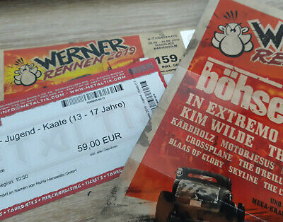 2x Werner Rennen 4 Tage incl. Camping (Böhse Onkelz, In Extremo, Scooter)