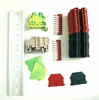 Red/Black DIN Rail Terminal Block Kit Dinkle 20 DK2.5N 12 AWG Gauge 20A 600V
