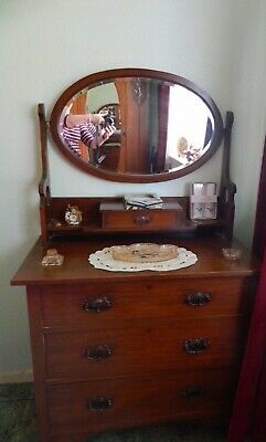 ANTIQUE DRESSING TABLE, Victorian, mahogany, with mirror