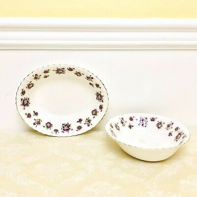 2 PIECES Royal Albert Sweet Violets Oval Vegetable Bowls