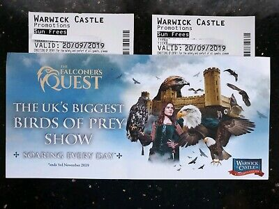 2 x Warwick Castle Tickets Friday 20th September 2019 20/09/19