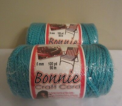 Lot of 2 Rolls of Turquoise 6mm Bonnie Braid Braided Macrame Craft Cord 200yds