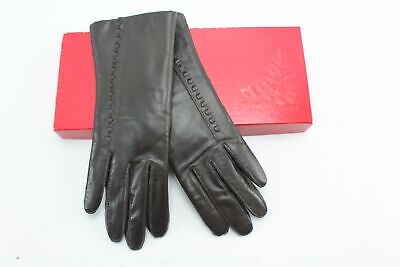 Fownes vintage Brown Leather Stitch Accent Gloves Womens Size 6 1/2
