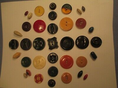 36 Assorted Mixed Plastic & Vintage Material Buttons /     JU 193