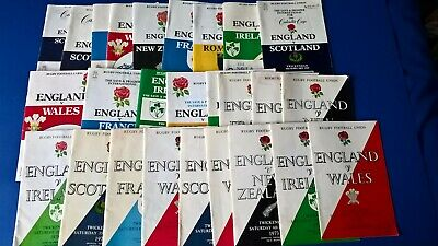 Various England Rugby Union Programmes, 1970's, 1980's