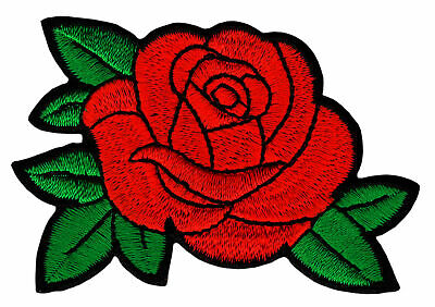 bk72 Rote Rose Blume Aufnäher Flicken Bügelbild Patch Applikation 7,5 x 5,0 cm