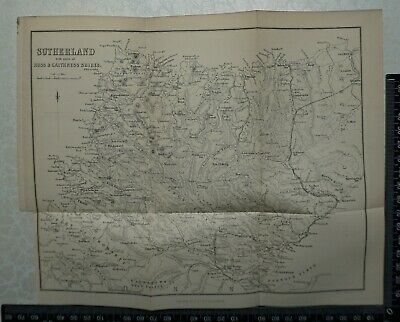 1879 Bartholomew Map of Sutherland with parts of Ross & Caithness, Scotland