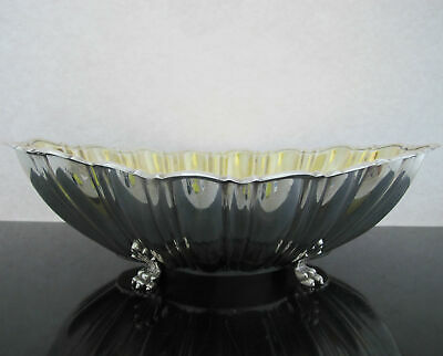 REED & BARTON Elongated Fluted STERLING Silver Gold Gilt Claw Foot Bowl X811