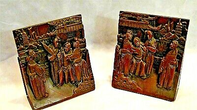 PAIR ANTIQUE 19c CHINESE ROSEWOOD HAND CARVED COURT SCENE IN PALACE BOOKENDS