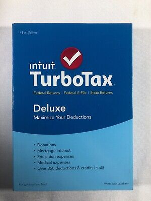 TurboTax Deluxe 2015 Federal + State + Fed Efile Turbo Tax Intuit PC & Mac