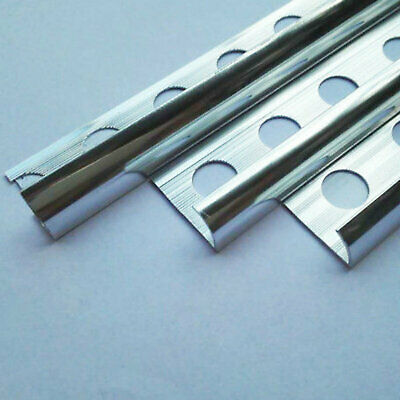 10 x Pack Round Edge Aluminium Tile Trim Bright Chrome Effect 2.44m 8//10//12mm