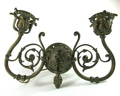 Vintage Very Ornate Two Arm Brass Wall Sconce Hollywood Regency Electric Lamp