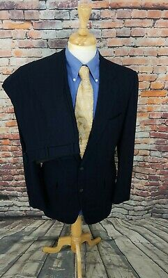 Southwick Paul Stuart 42L Men's Midnight Navy Wool Flannel 2 Piece Suit 34X34