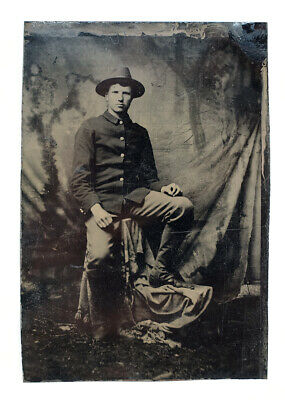 Spanish-American War or Earlier Military U.S. Soldier Tin Type Photograph